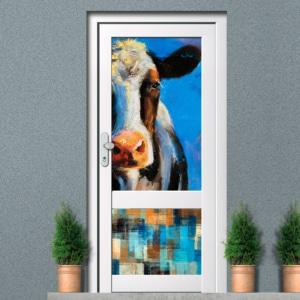 Raamfolie voordeur koe